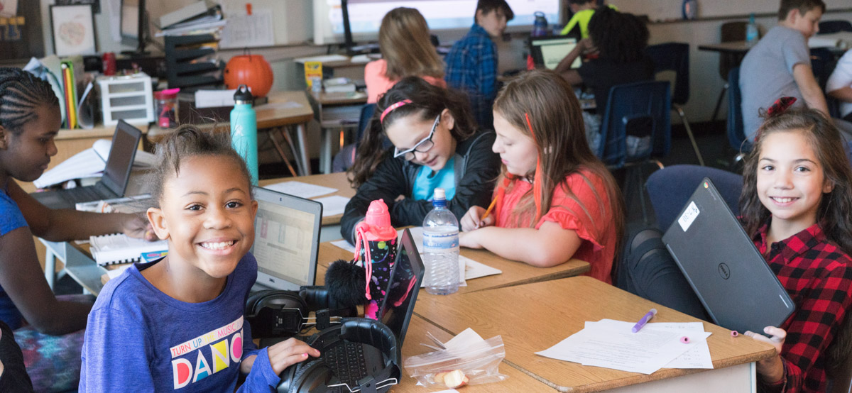 Students in a classroom at Marshall Upper Elementary