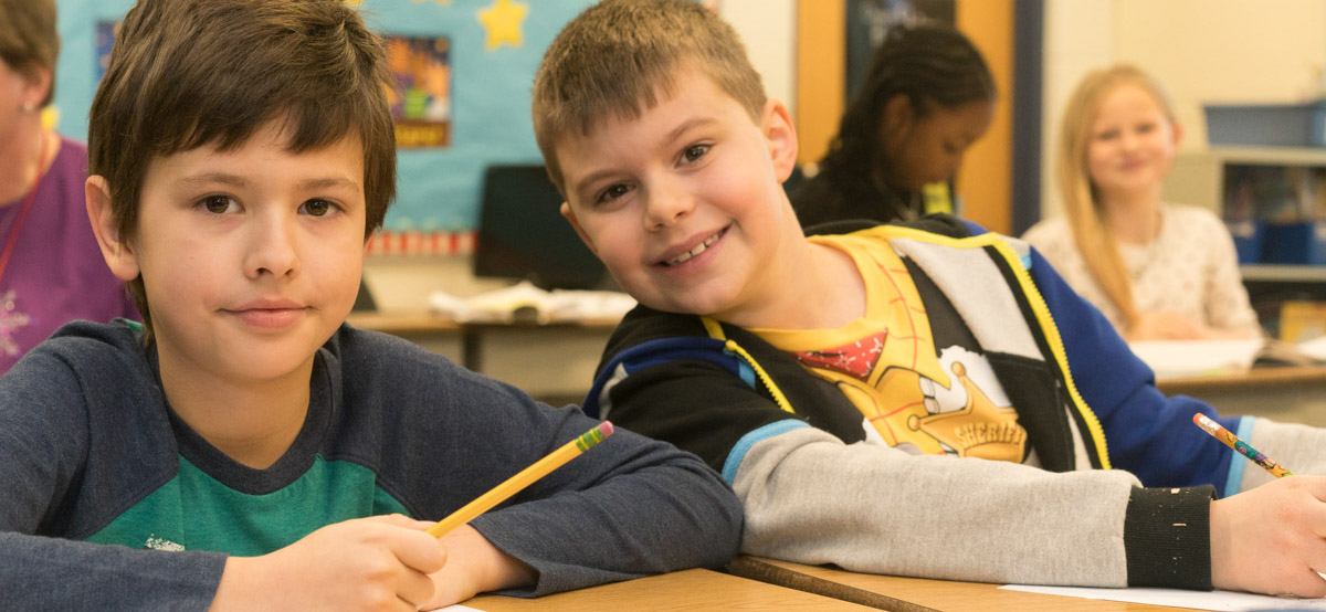 Two boys in classroom at Taft Elementary
