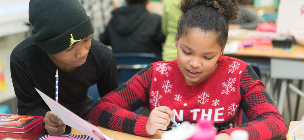 Two students working together at Roosevelt elementary