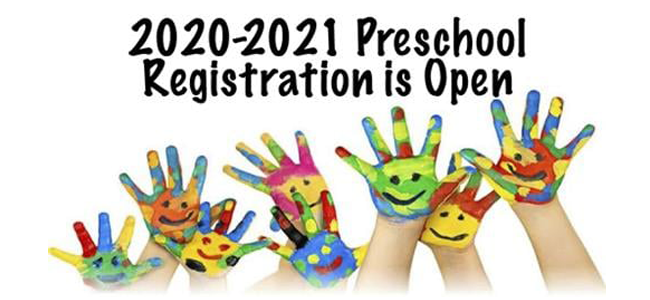 2020-2021 Preschool Registration is Open