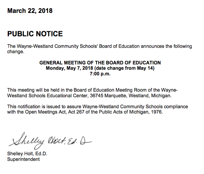 2018-03-21 - Change of Date Regular Mtg