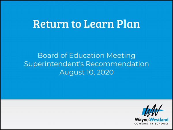 Board of Education Meeting Superintendent's Recommendation August 10, 2020