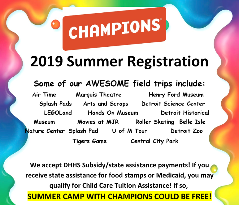 2019 Summer Registration for Champions