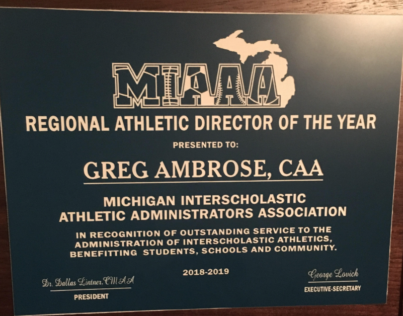 Greg Ambrose presented with MIAAA Award, Regional Athletic Director of the Year