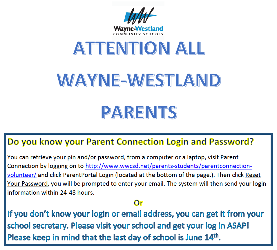 ParentConnect Password Reminder