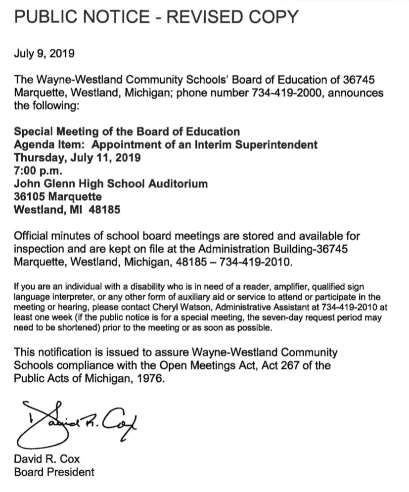 2019-07-09 - Special Mtg Notice for July 11th Meeting