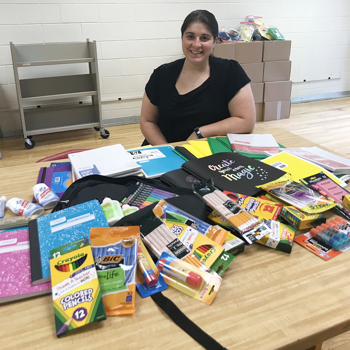 Kathy Hansen Realty donation of school supplies