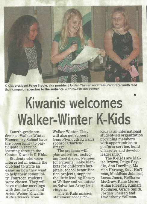 Kiwanis Welcomes Walker-Winter K-Kids