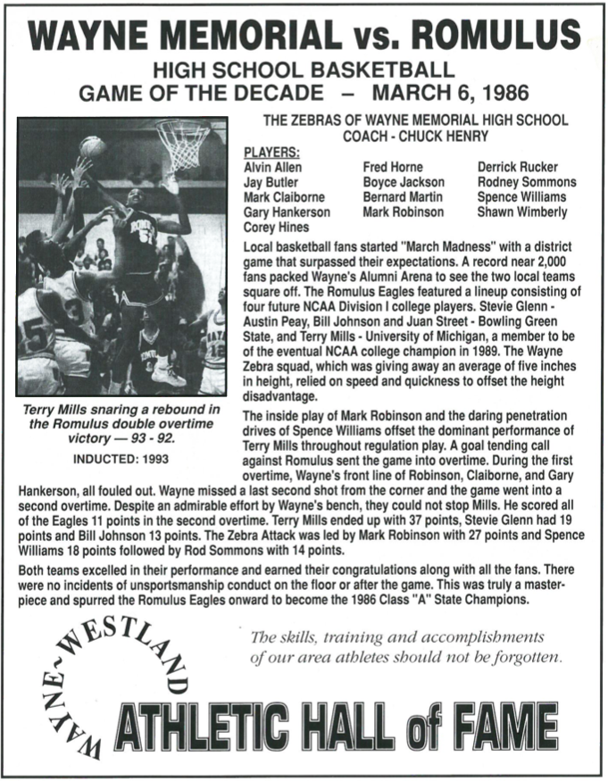 1986 - Basketball - Mayne Memorial vs Romulus